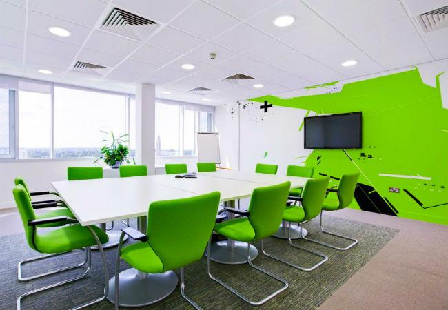 Màu xanh sử dụng trong thiết kế nội thất văn phòng